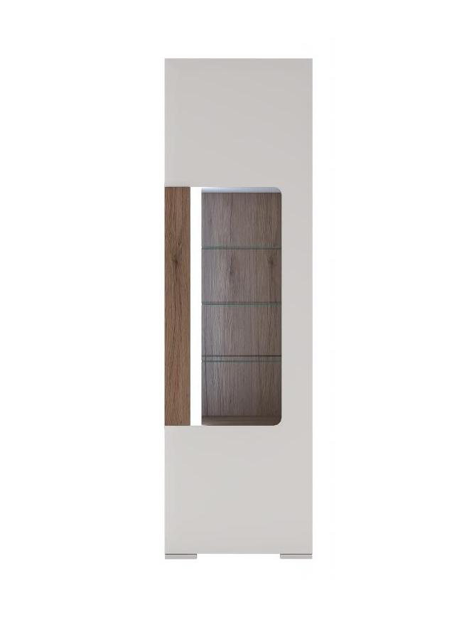 Extom TORONTO, vitrína TOV 02, alpská bílá/dub truflový