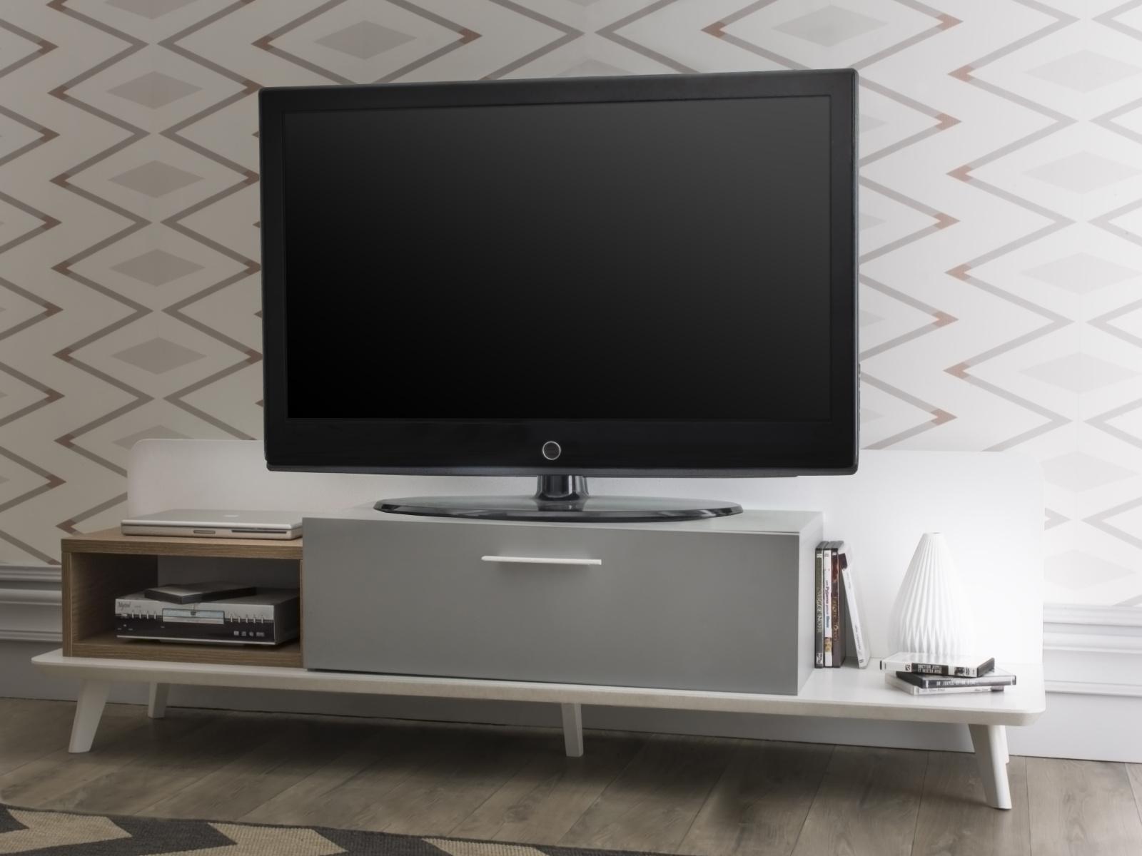 DEMEYERE BLOK, TV stolek, dub aragon/bílá/šedá – šíře 160 cm