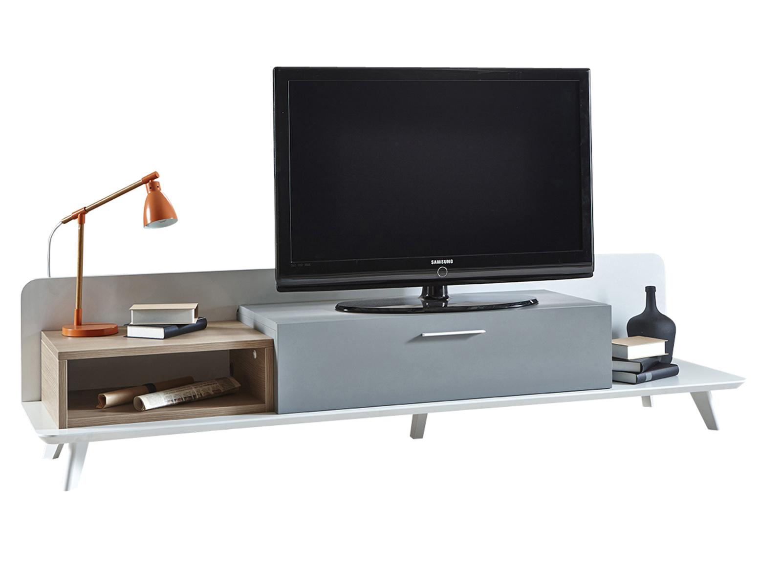 DEMEYERE BLOK, TV stolek, dub aragon/bílá/šedá - šíře 200 cm