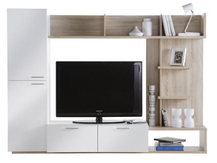 DEMEYERE ARINA, televizní stěna, dub sonoma/bílá