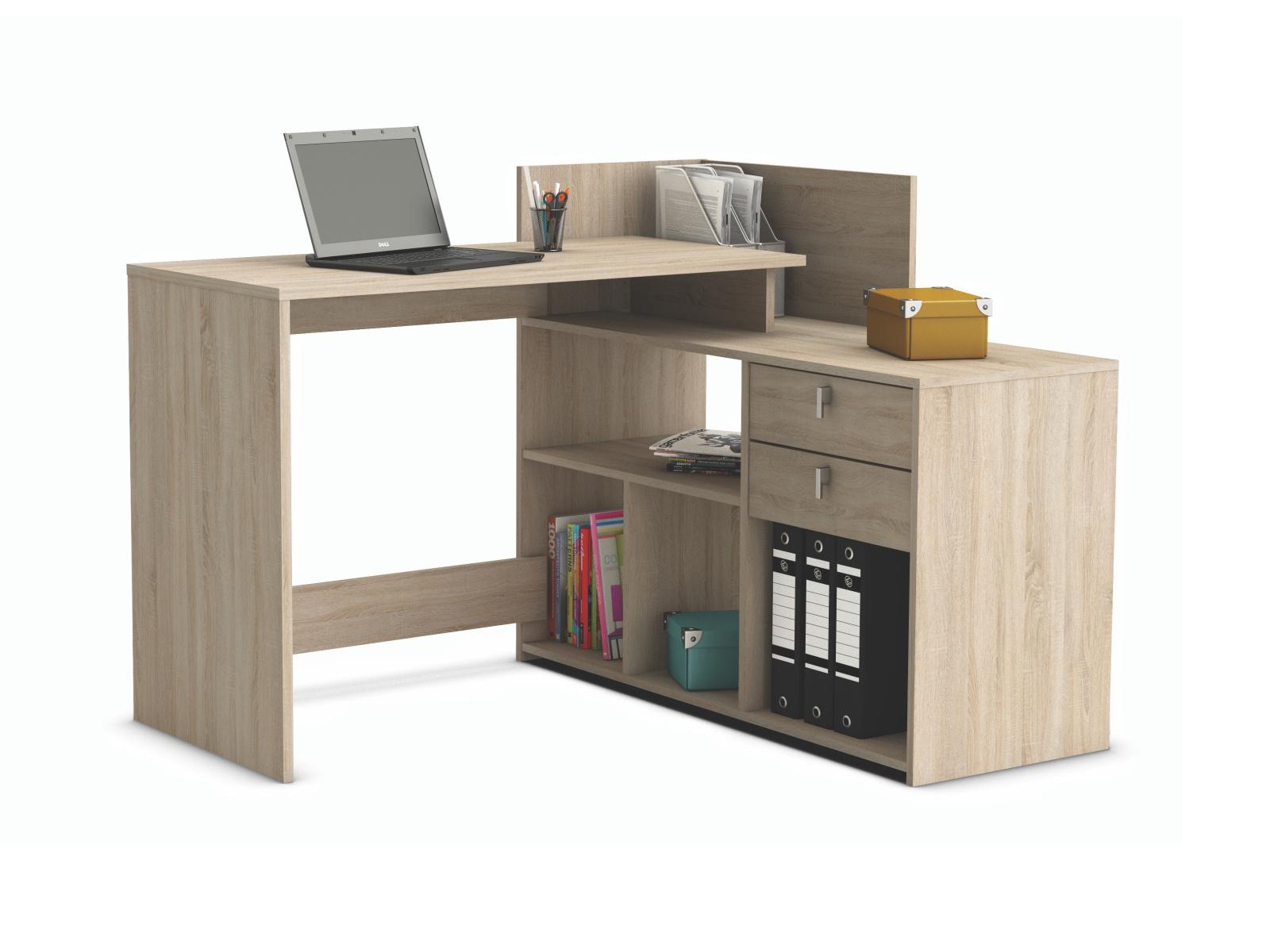 DEMEYERE VISSTA, univerzální rohový psací stůl, dub sonoma