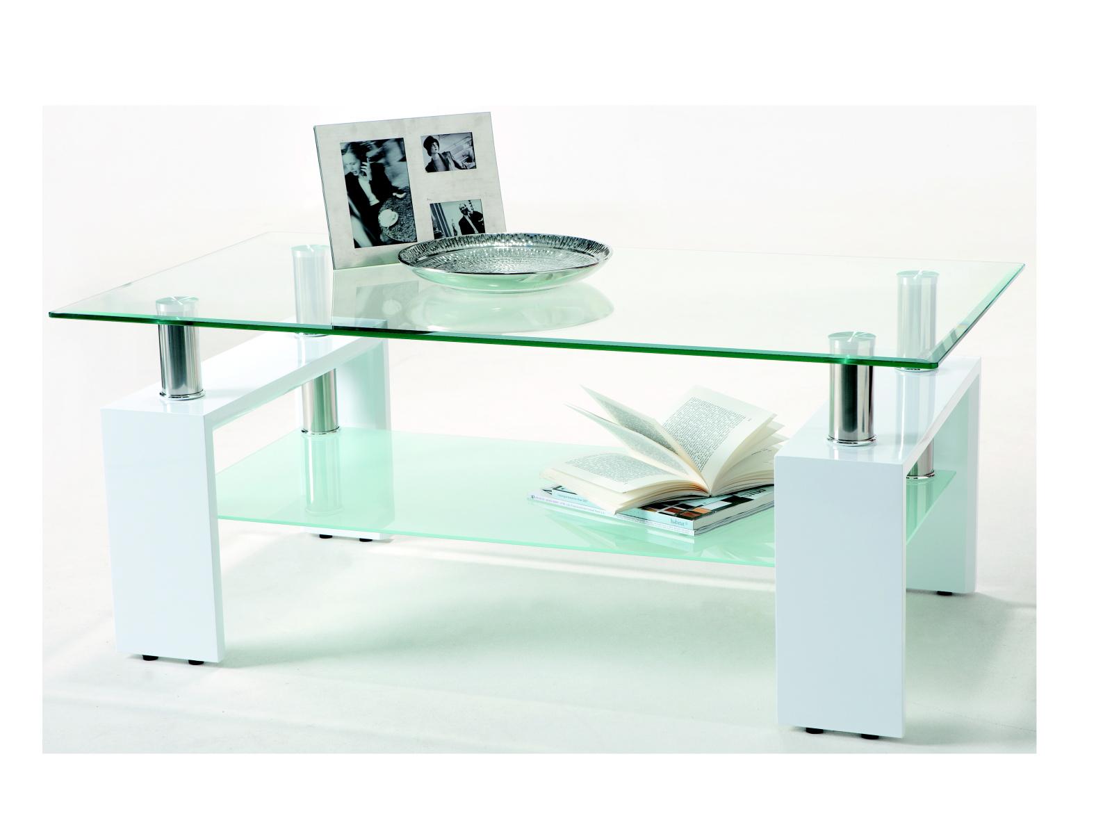 DEMEYERE CIBER, konferenční stolek, bílá/sklo