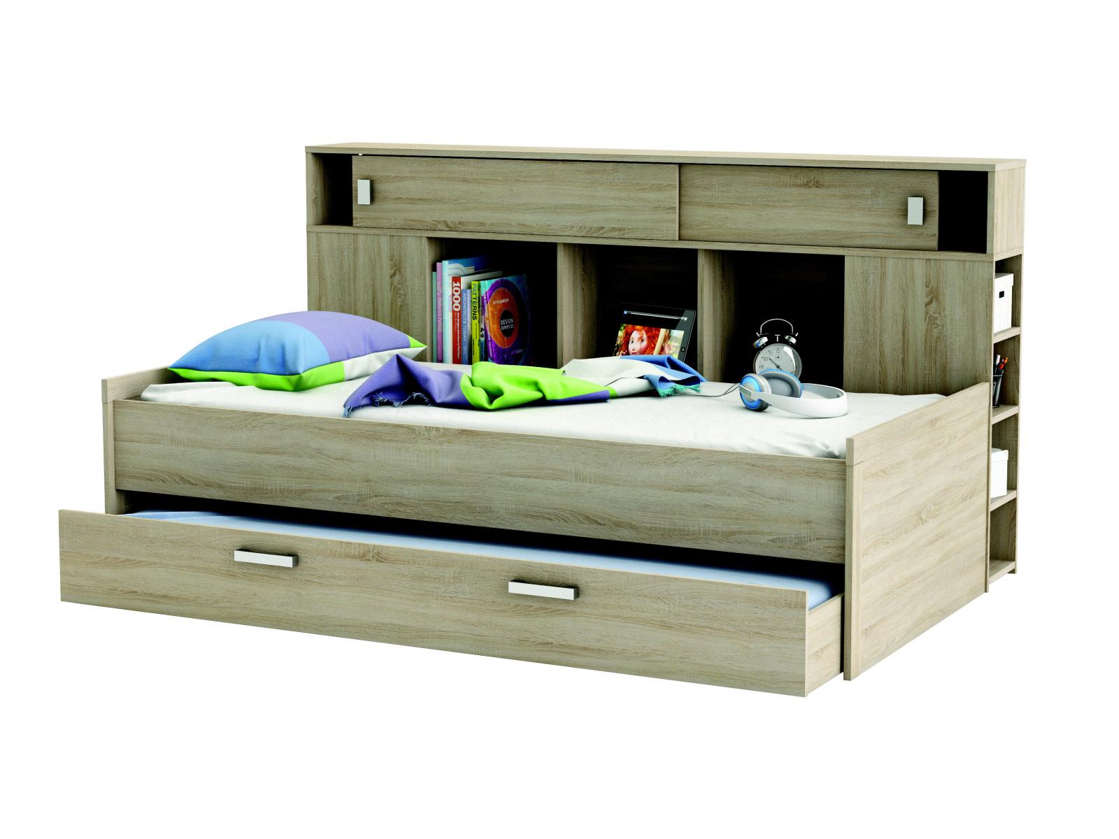 DEMEYERE SCHERWOOD, postel 90x200 cm s přistýlkou, dub sonoma