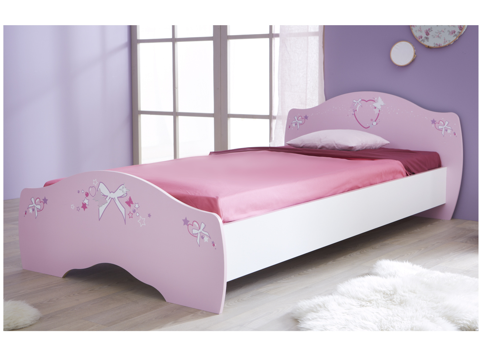 DEMEYERE PAPILON, postel 90x190/200, bílá/růžová