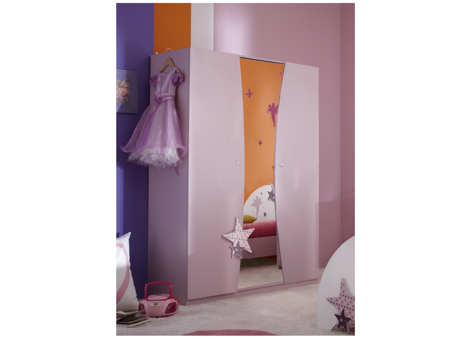 DEMEYERE FEI, skříň 3D se zrcadlem, fialková
