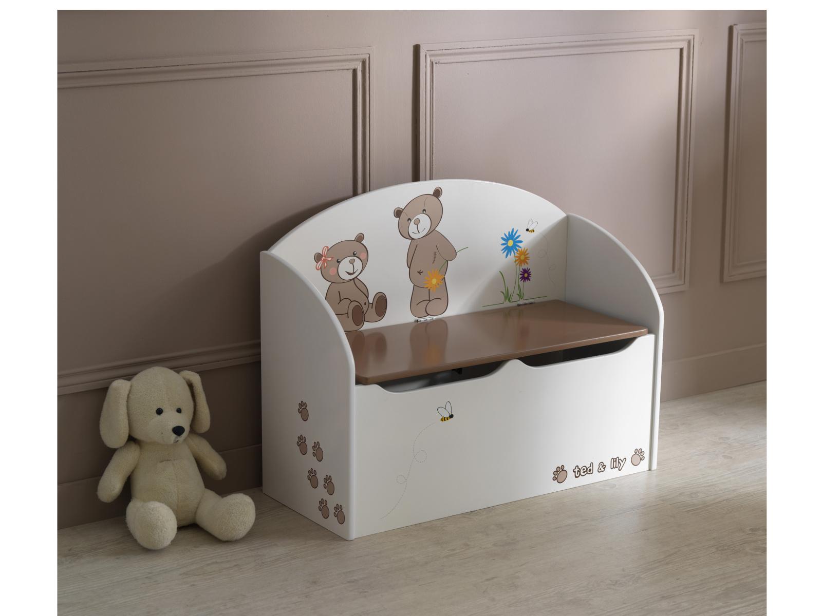 DEMEYERE TEDDY & LILY, truhla na hračky, béžová/čokoládová