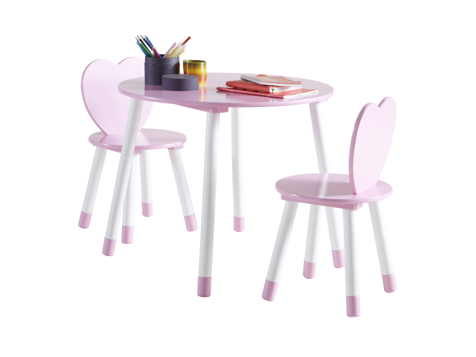 DEMEYERE PRINCES, stolek + 2 židle, bílá/růžová