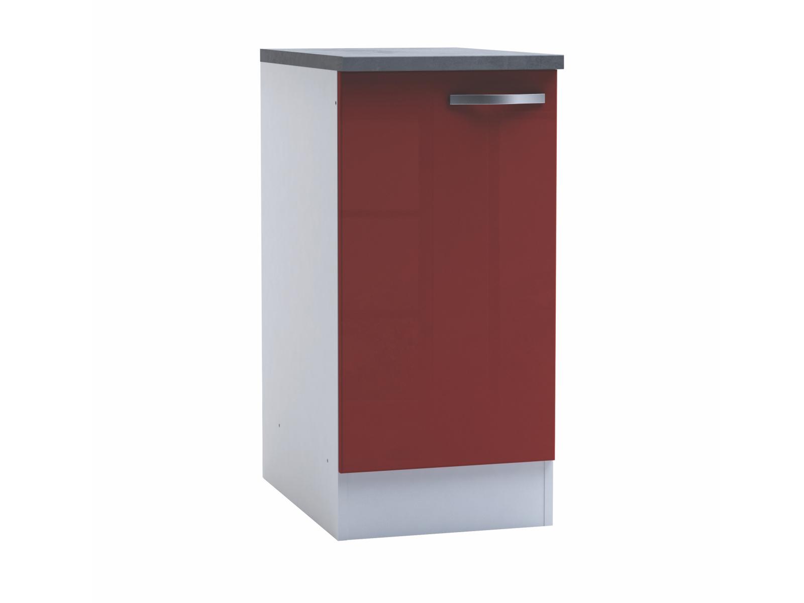 DEMEYERE CHERY, skříňka dolní 40 cm, bílá/červený lesk
