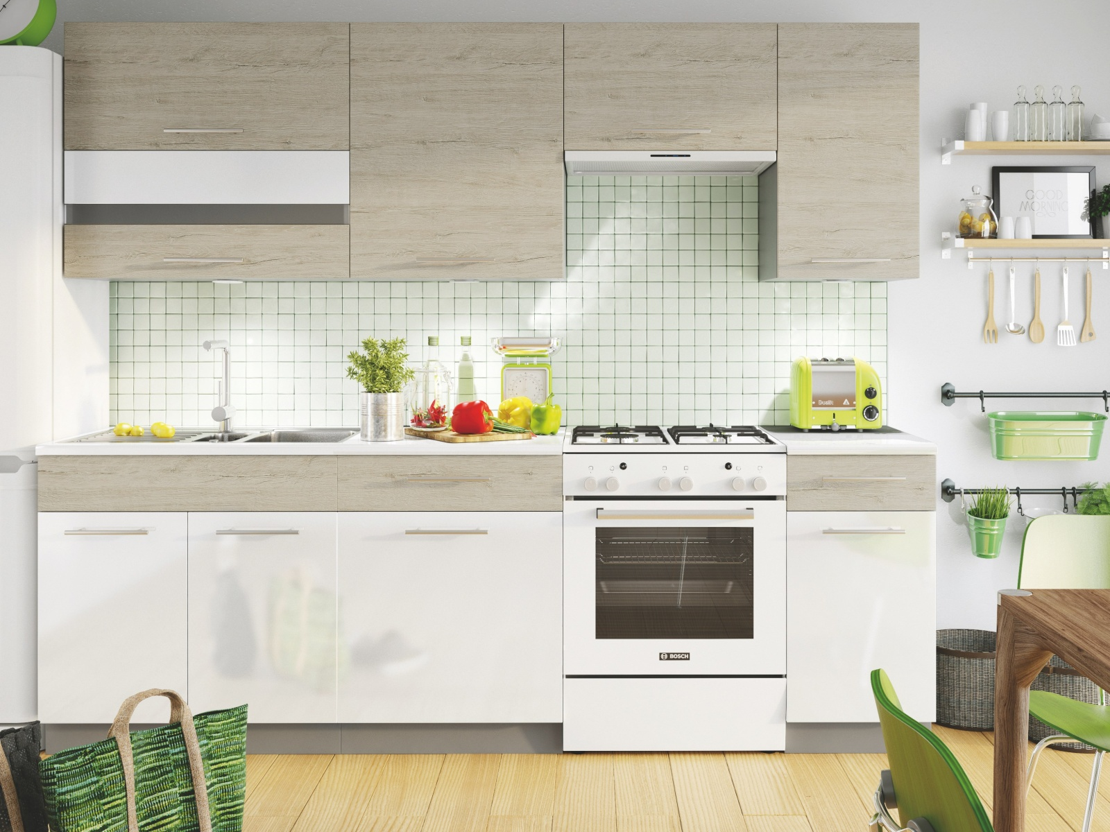 Smartshop Kuchyně MIA 240 cm, dub/bílý lesk
