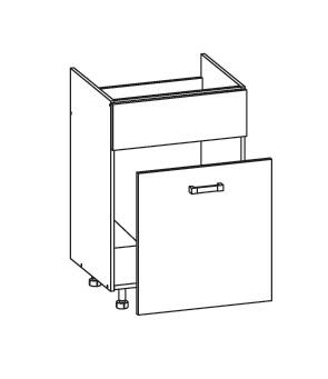 Smartshop PLATE dolní skříňka DKS60 SMARTBOX pod dřez, korpus šedá grenola, dvířka dub wenge