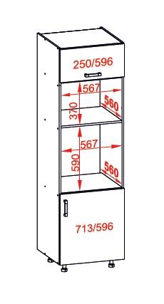 Smartshop IRIS vysoká skříň DPS60/207O pravá, korpus wenge, dvířka dub sonoma hnědý