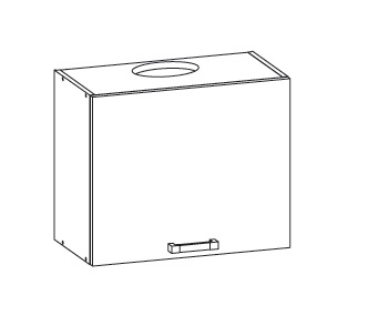 Smartshop APLAUS horní skříňka GOO 60/50, korpus bílá alpská, dvířka dub hnědý