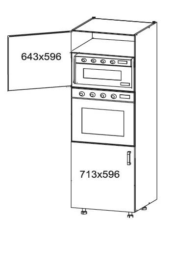 Smartshop APLAUS vysoká skříň DPS60/207, korpus šedá grenola, dvířka dub hnědý