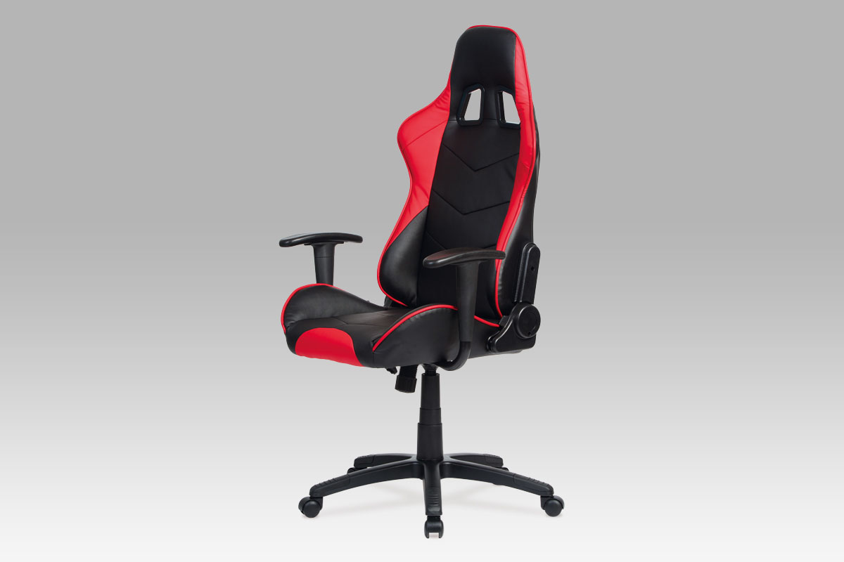 Autronic Kancelářská židle, koženka černá/červená KA-N178 RED