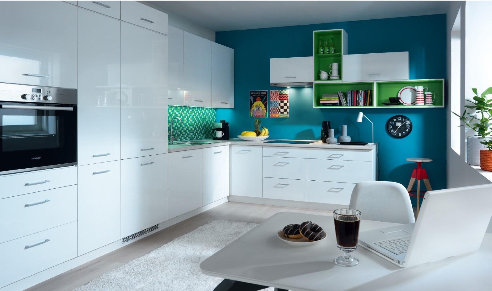 Smartshop Rohová kuchyně TAPO PLUS, VZOROVÁ SESTAVA 2, bílá lesk