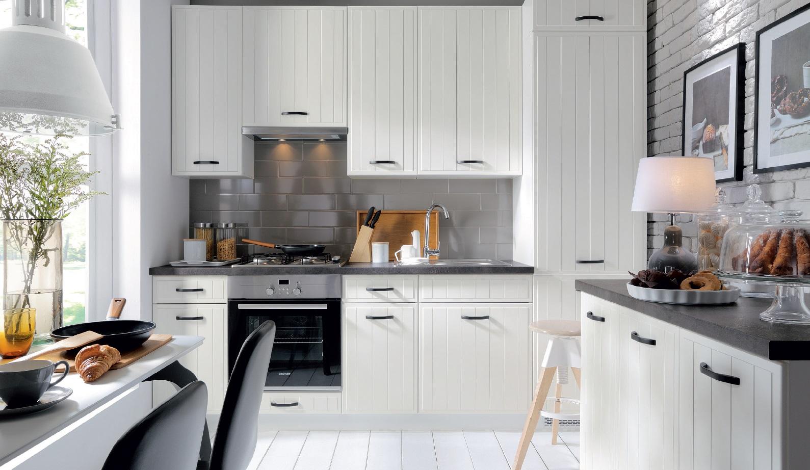 Smartshop Rohová kuchyně DOMIN, VZOROVÁ SESTAVA, bílá canadian
