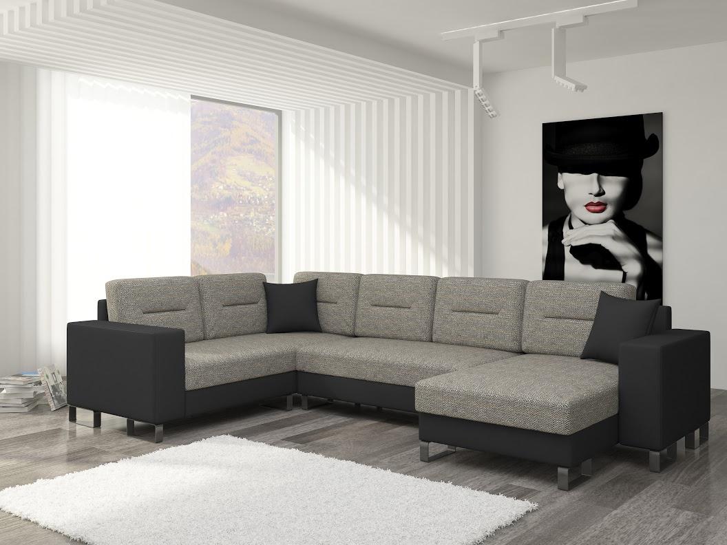 ELTAP Rohová sedačka DORADO 02 pravá, šedá látka/černá ekokůže