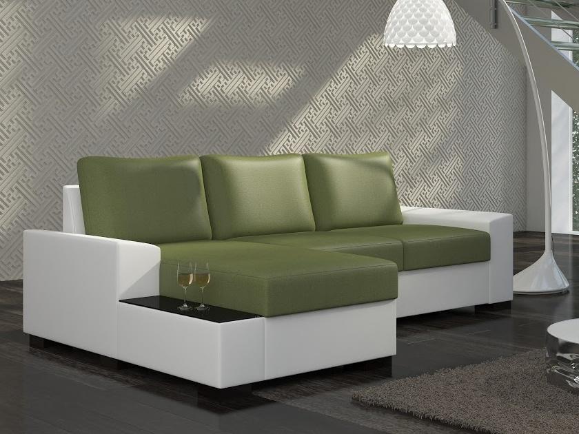 ELTAP Rohová sedačka NEGRO 09 levá, zelená látka/bílá ekokůže