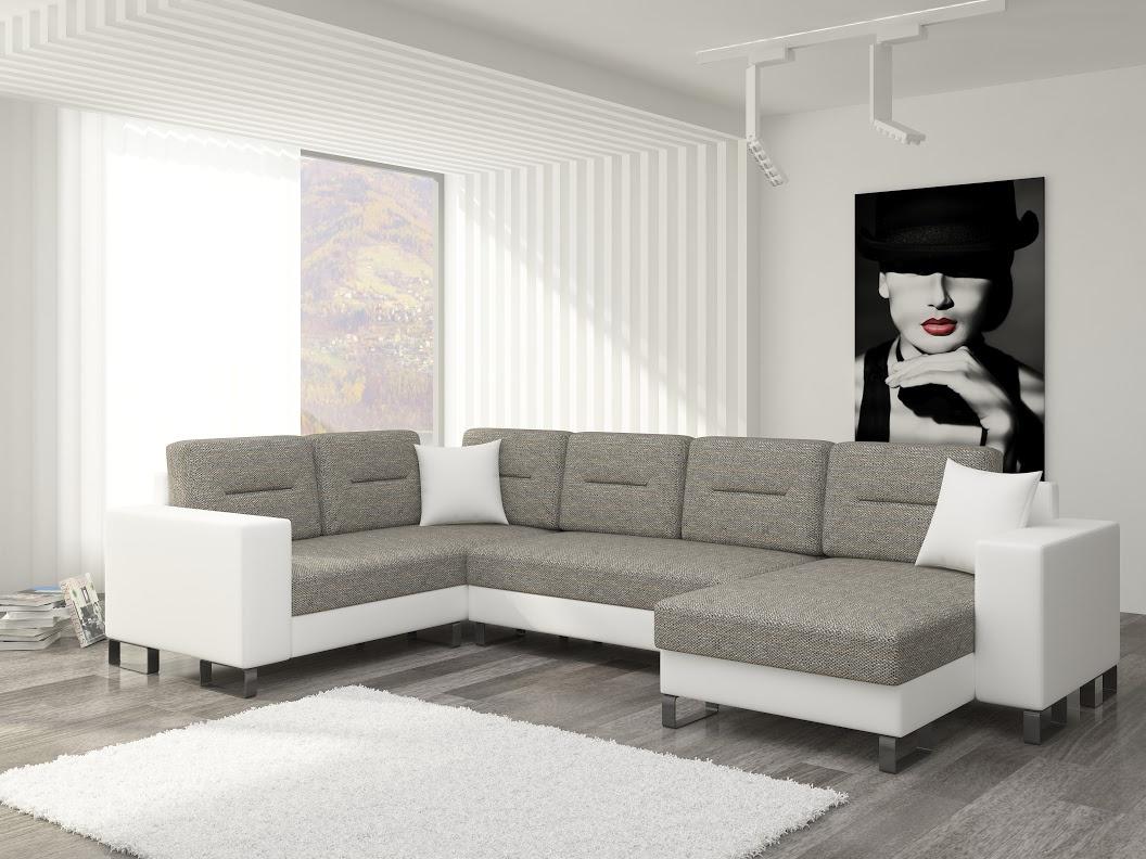 ELTAP Rohová sedačka DORADO 03 pravá, šedá látka/bílá ekokůže