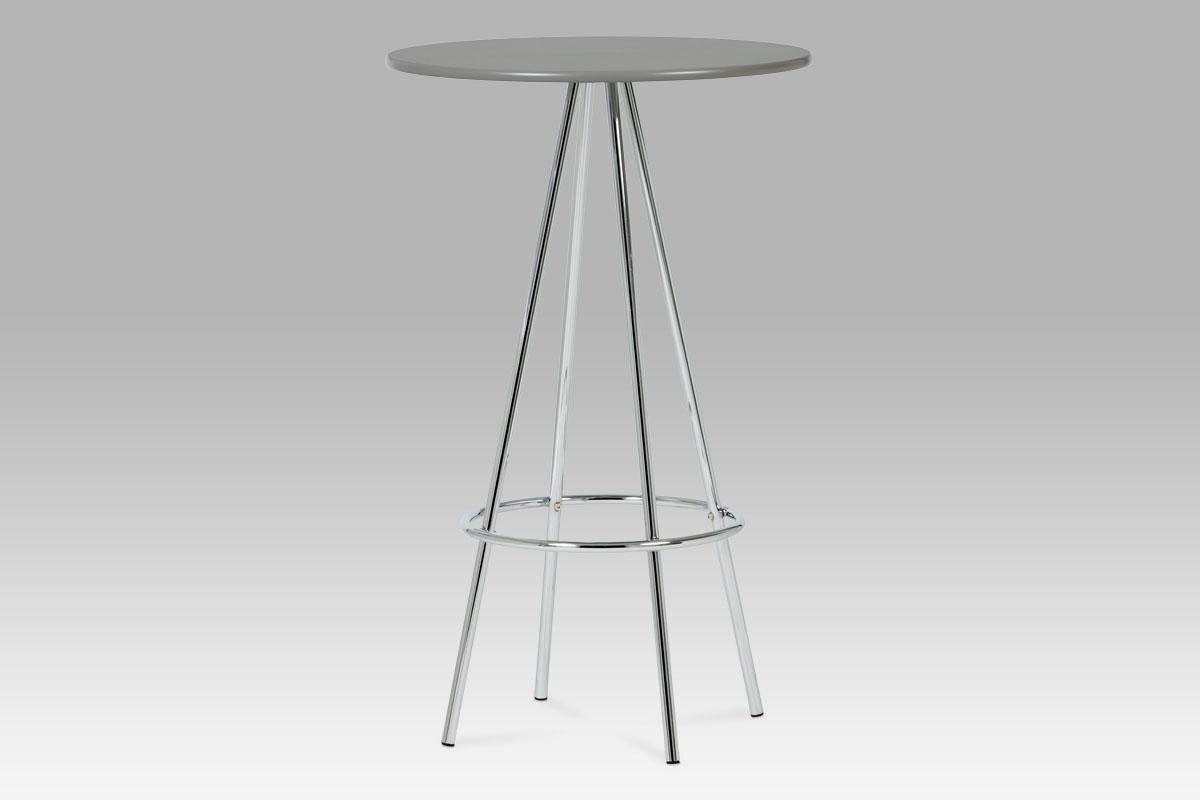 Autronic Barový stůl průměr 60, šedá / chrom AUB-8000 GREY