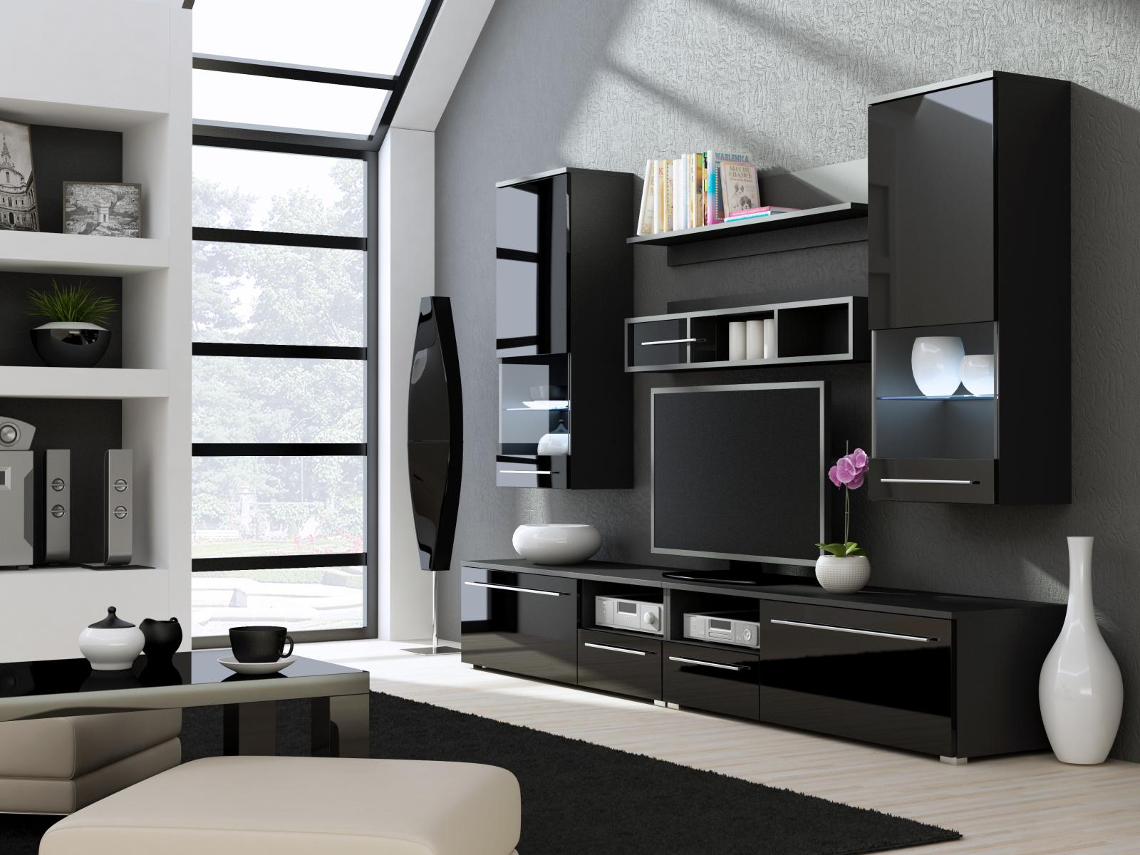CAMA LUNA NIGHT, obývací stěna, černá/černý lesk