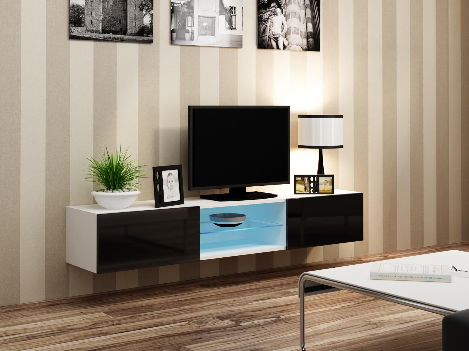 CAMA Televizní stolek VIGO SKLO, bílá/černý lesk