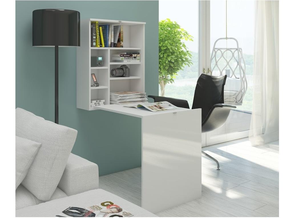 MORAVIA FLAT Psací stůl HIDE, bílá/bílý lesk