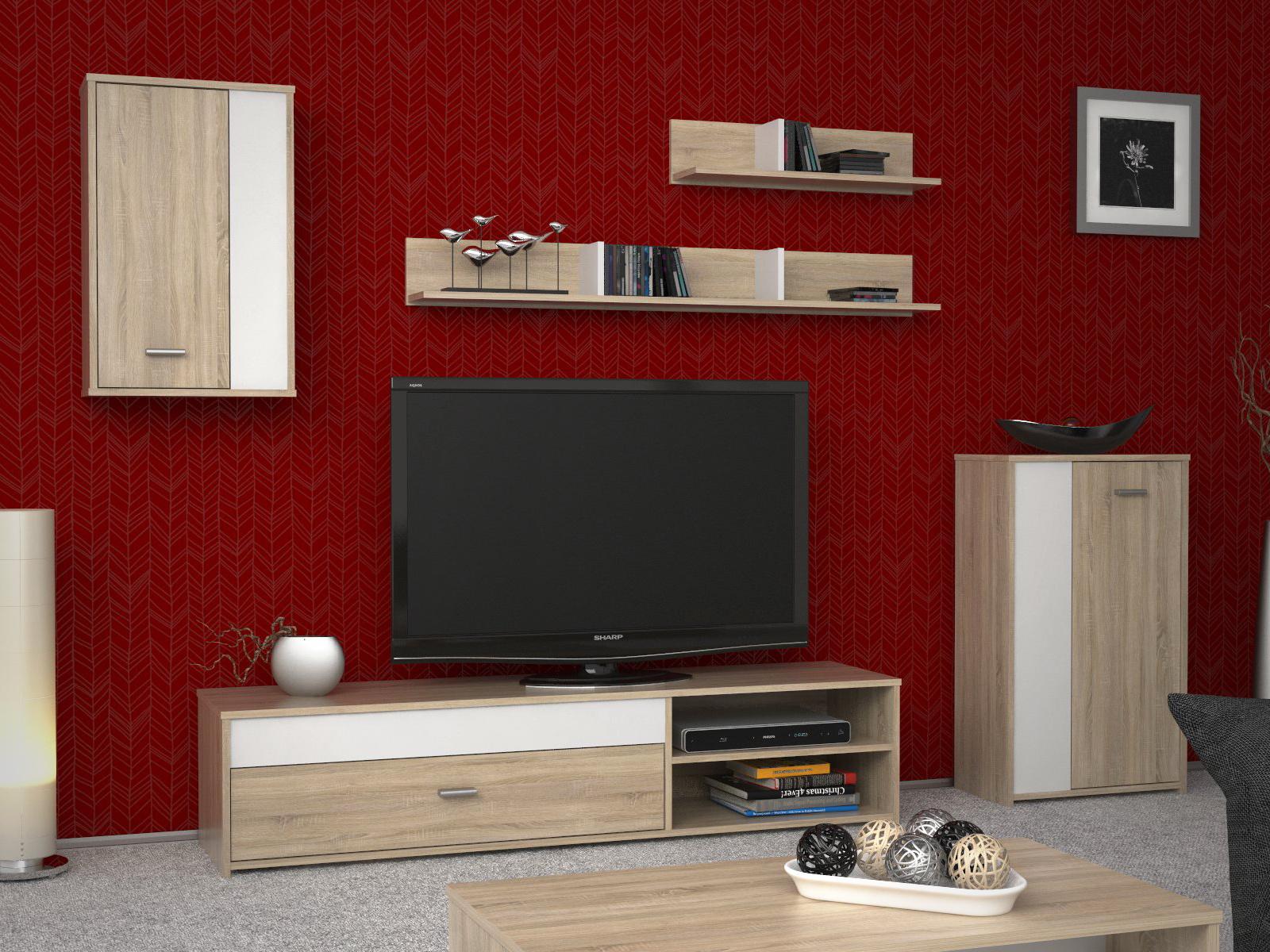 Obývací stěna ASOLE, bílý/dub sonoma