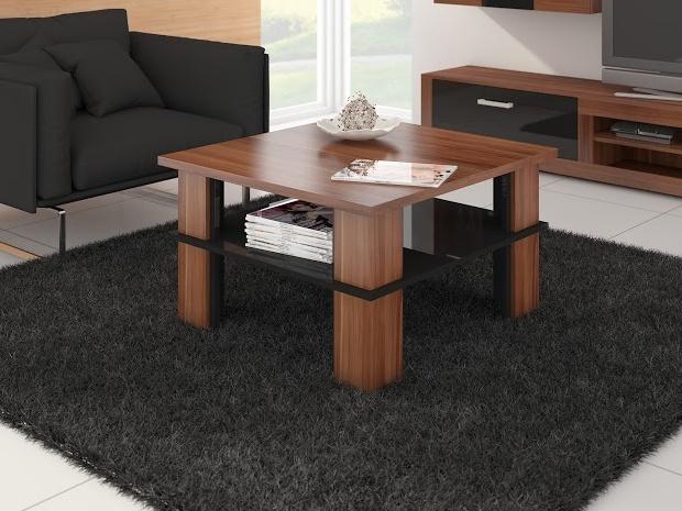 MORAVIA FLAT Konferenční stolek FUTURA 1, švestka wallis/černý lesk