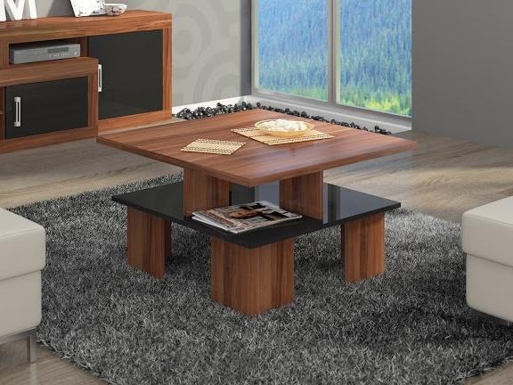 MORAVIA FLAT Konferenční stolek SUPRA 1, švestka wallis/černý lesk
