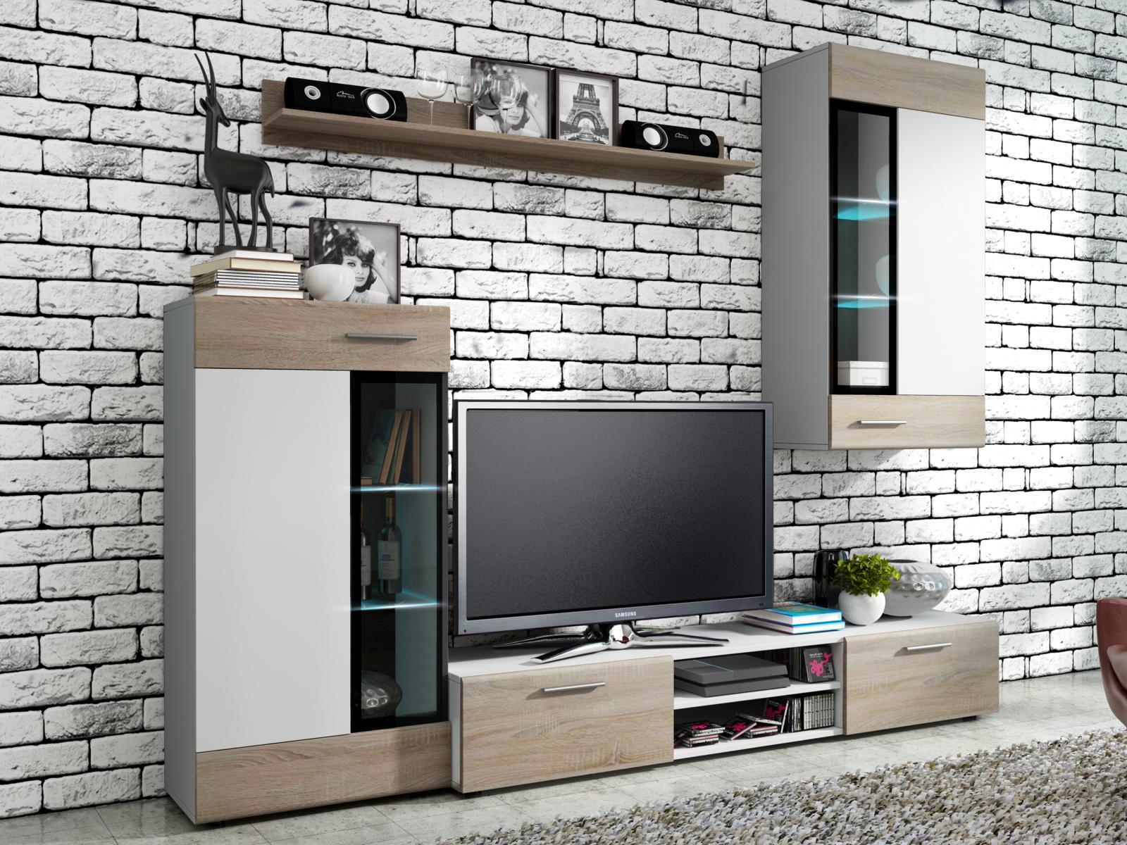 Smartshop Obývací stěna TANGO, bílá/dub sonoma