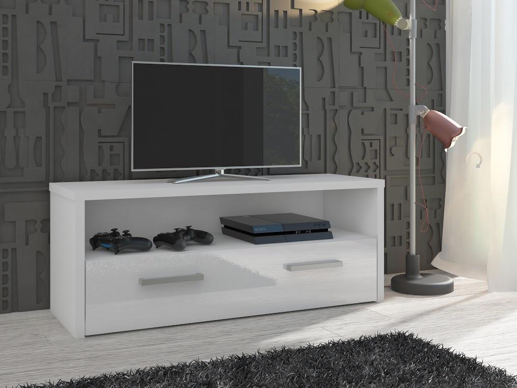 MORAVIA FLAT TV stolek TIRANA, bílá/bílý lesk
