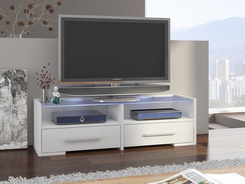 MORAVIA FLAT TV stolek SEMPRIO, bílá/bílý lesk