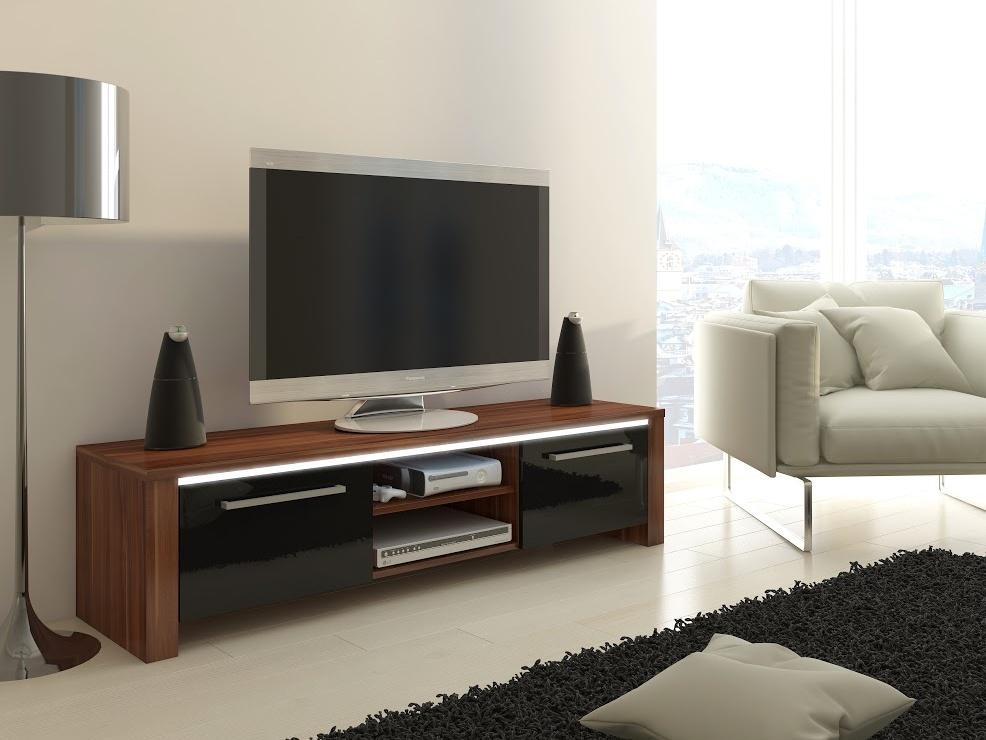 MORAVIA FLAT TV stolek HELIX, švestka wallis/černý lesk