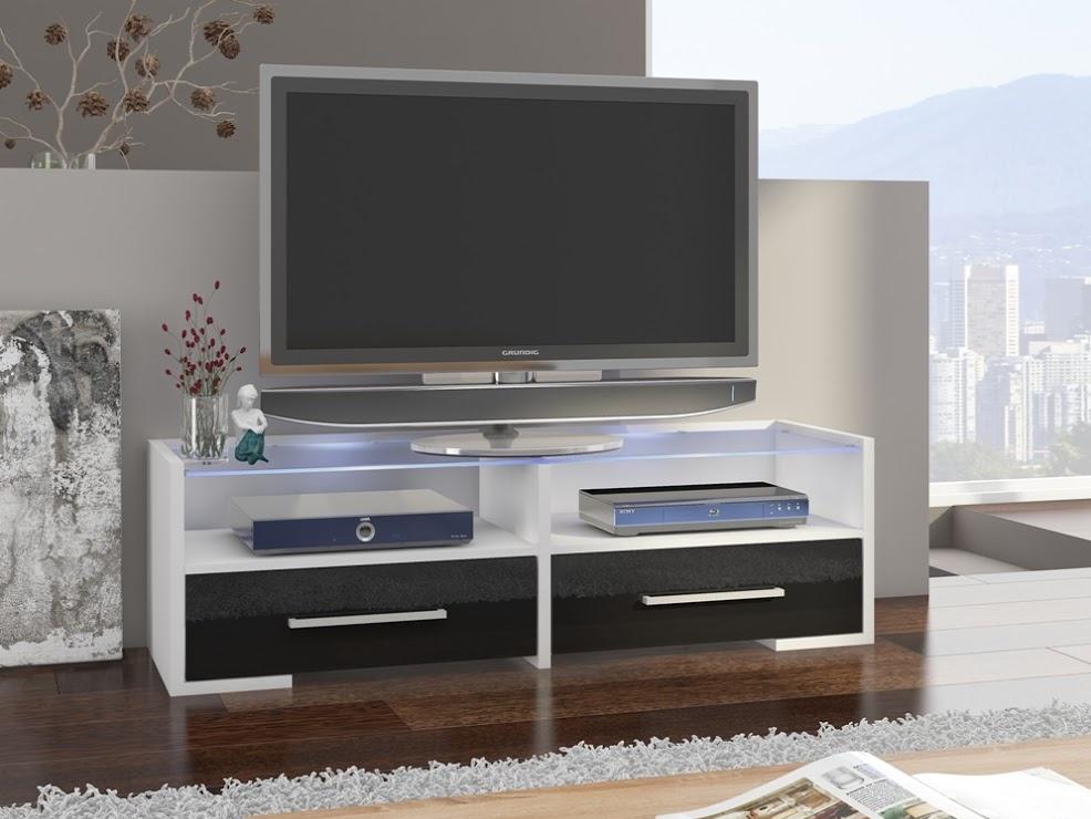 MORAVIA FLAT TV stolek SEMPRIO, bílá/černý lesk