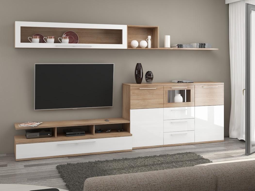 MORAVIA FLAT AMBIENTE, obývací stěna, dub sonoma/bílý lesk