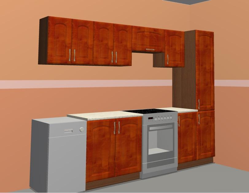 Black Red White Kuchyně NIKA 140/260 cm, portál třešeň antická DOPRODEJ