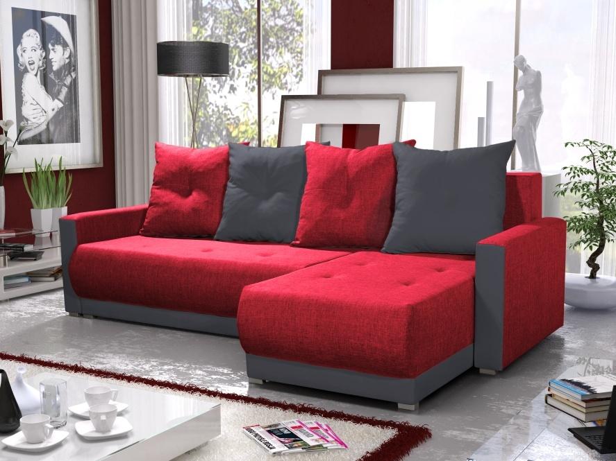 Smartshop Rohová sedačka INSIGNIA BIS 18, červená/šedá