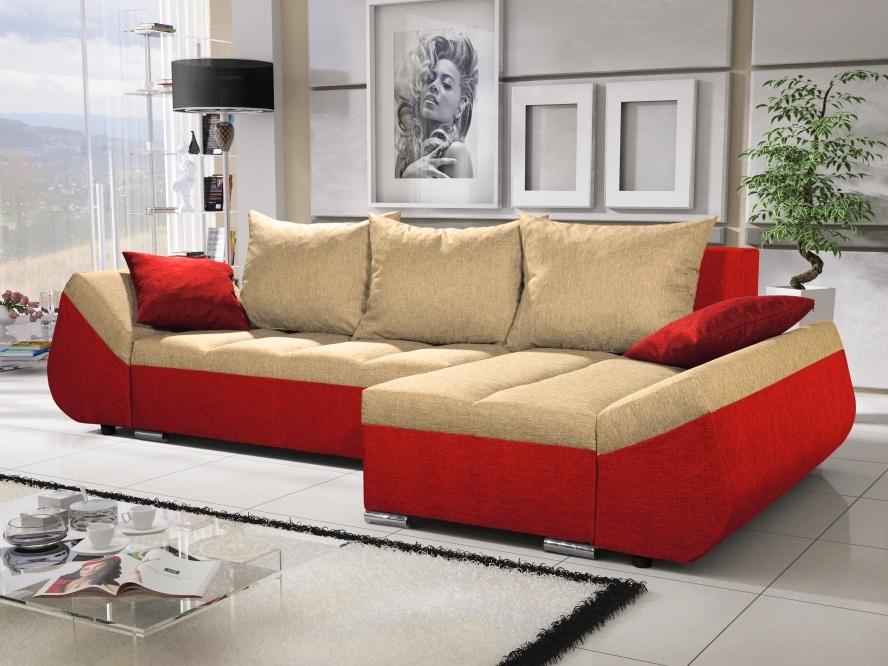Smartshop Rohová sedačka KORFU 9, krémová/červená