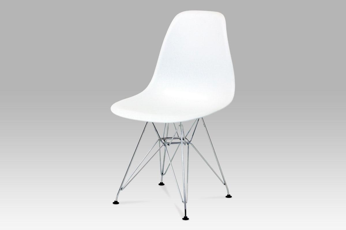 Autronic Jídelní židle, plast bílý / chrom CT-711 WT