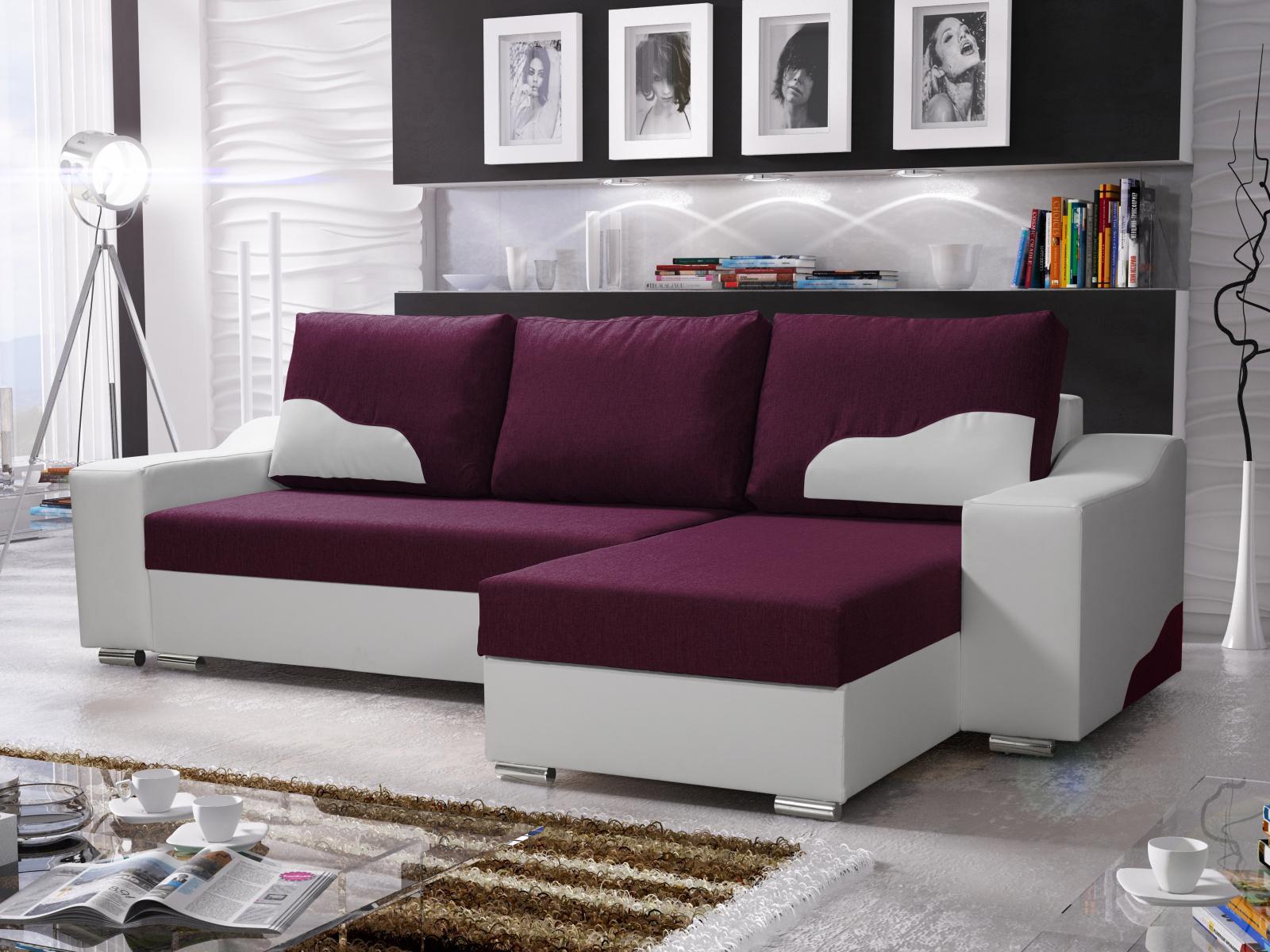 Smartshop Rohová sedačka WILLIAM 270/6, fialová látka/bílá ekokůže