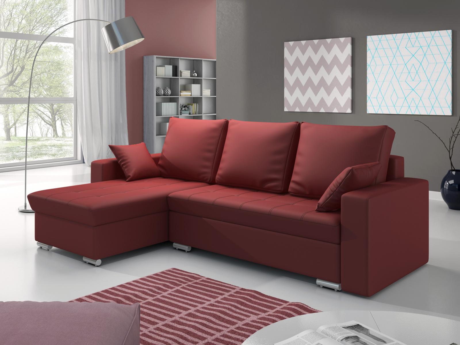 Smartshop Rohová sedačka VALERIO 3 levá, červená