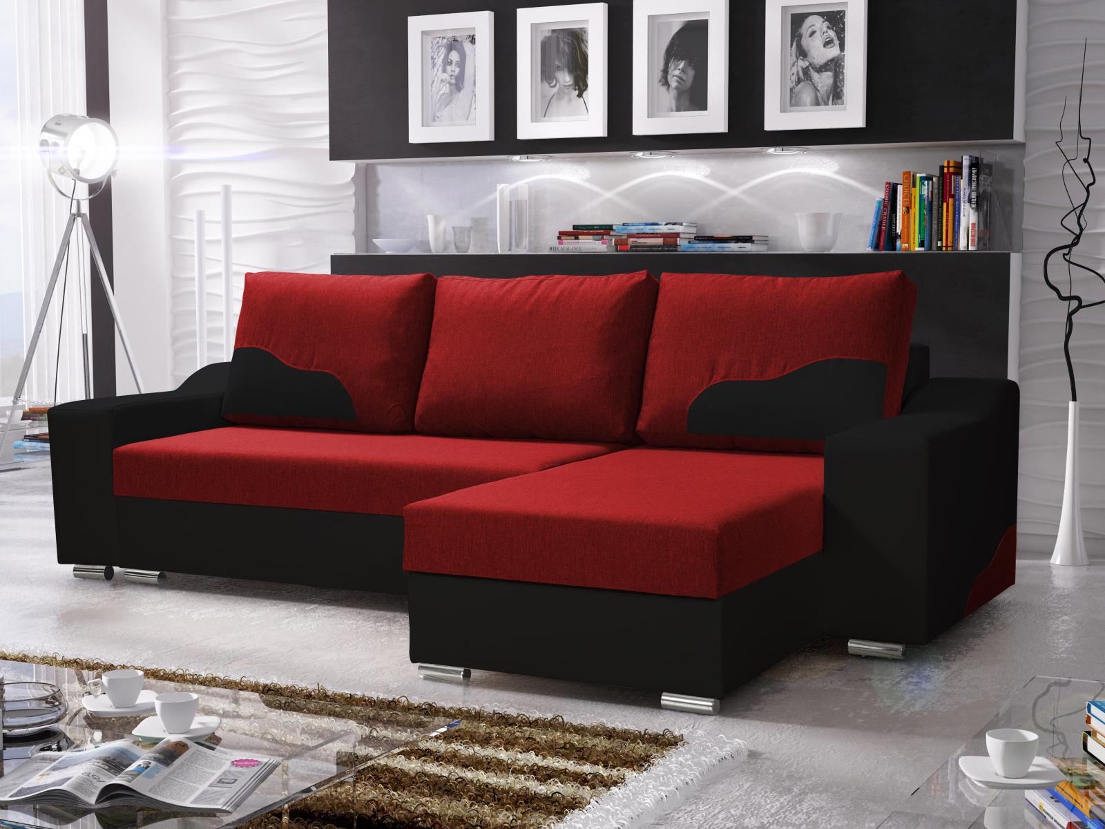 Smartshop Rohová sedačka WILLIAM 270/1, červená/černá