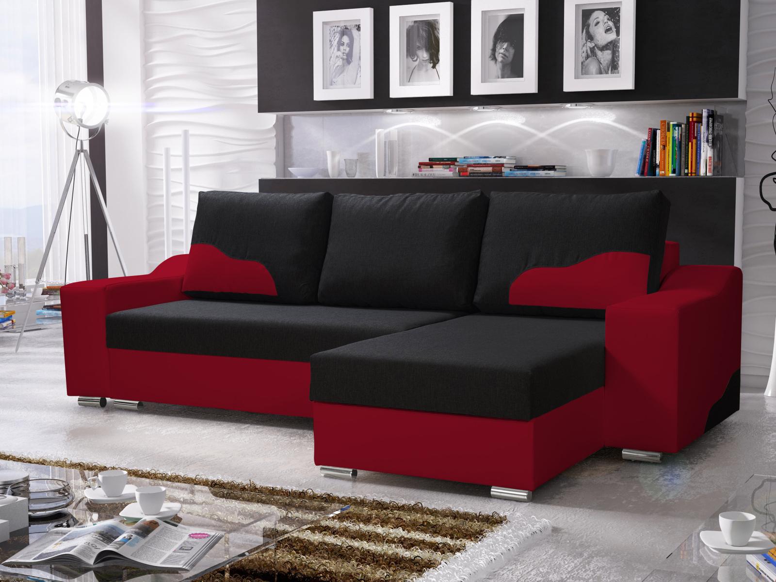 Smartshop Rohová sedačka WILLIAM 250/2, černá/červená