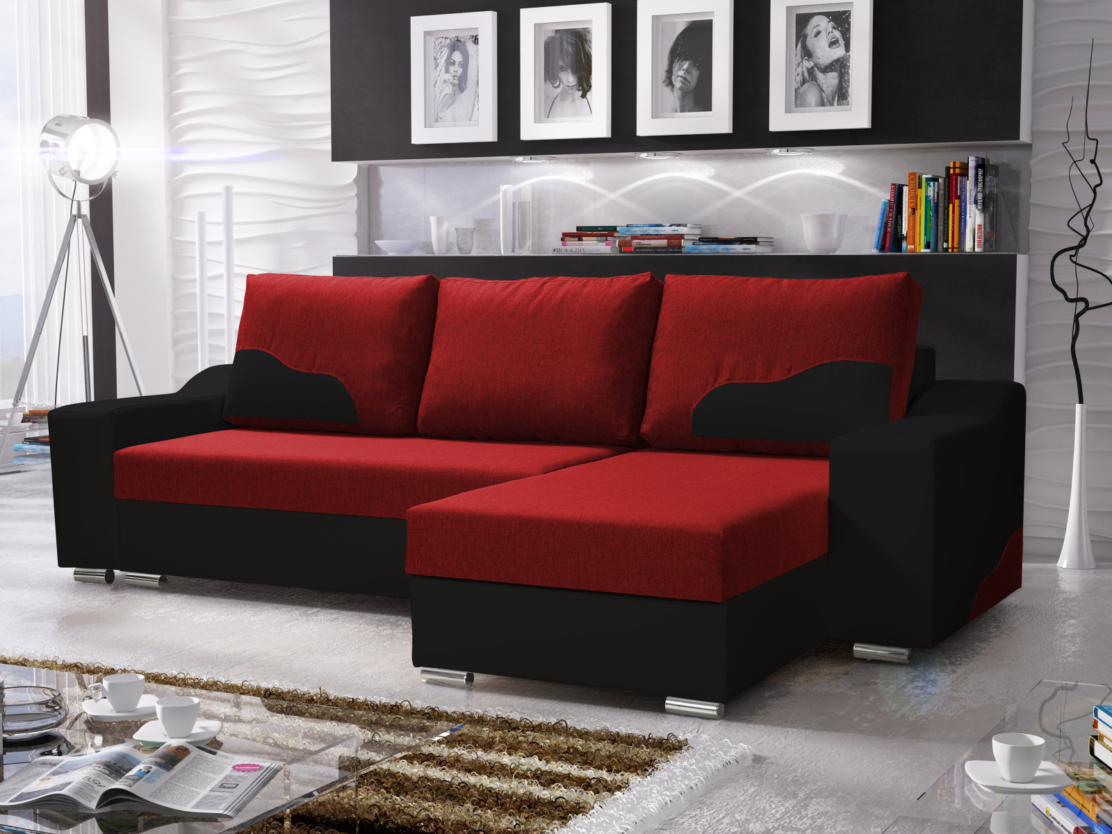 Smartshop Rohová sedačka WILLIAM 250/1, červená/černá