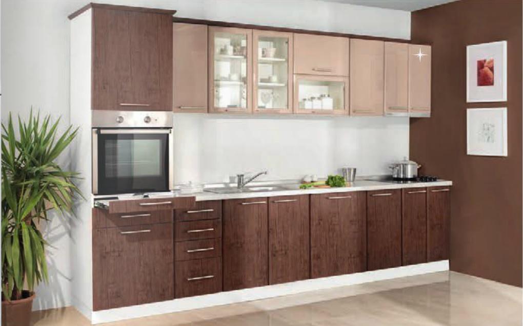 MATIS Kuchyně IN MDF 340 cm, ořech / cappuccino lesk