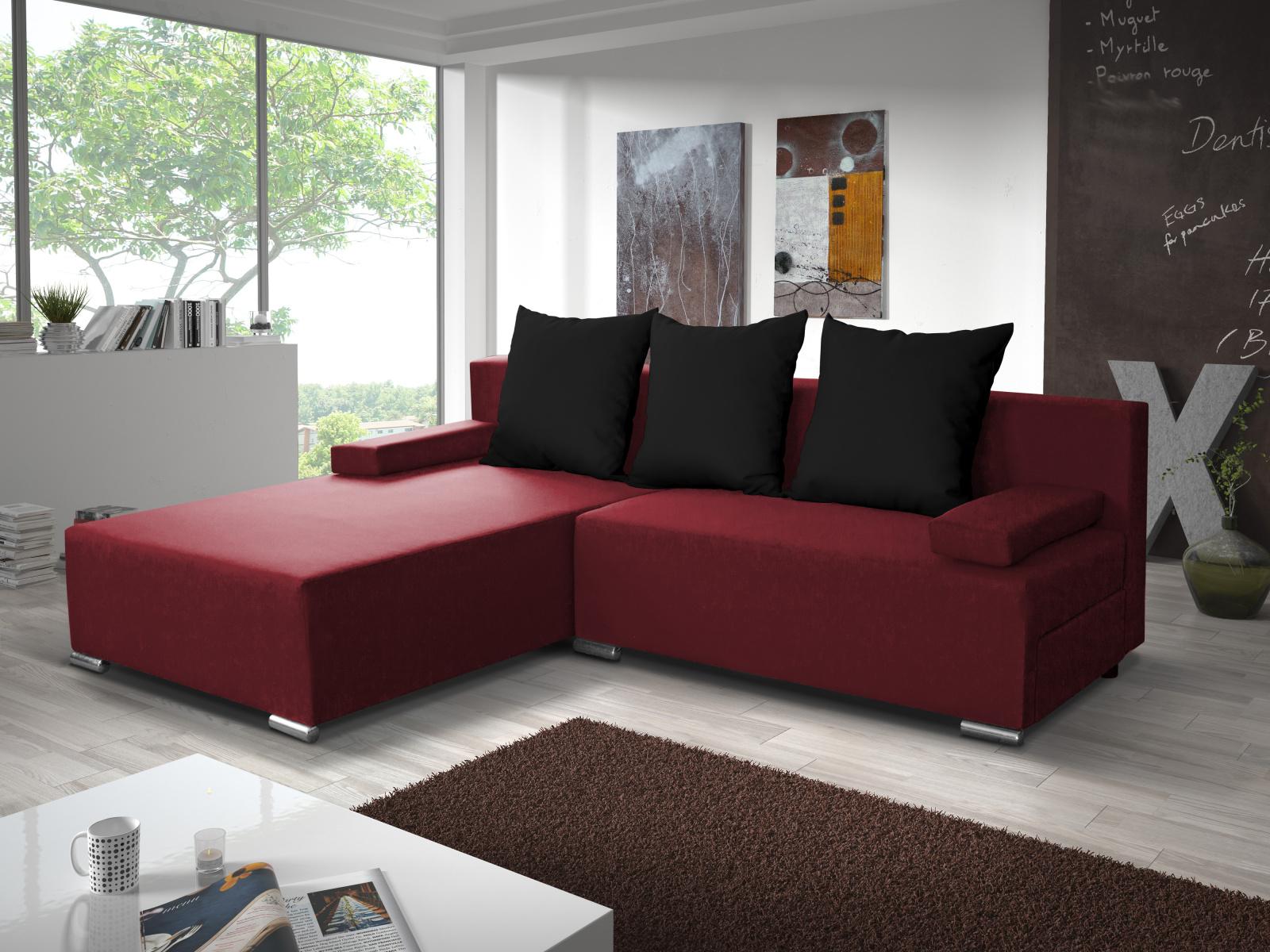 Smartshop Rohová sedačka CANDY 6, červená/černá
