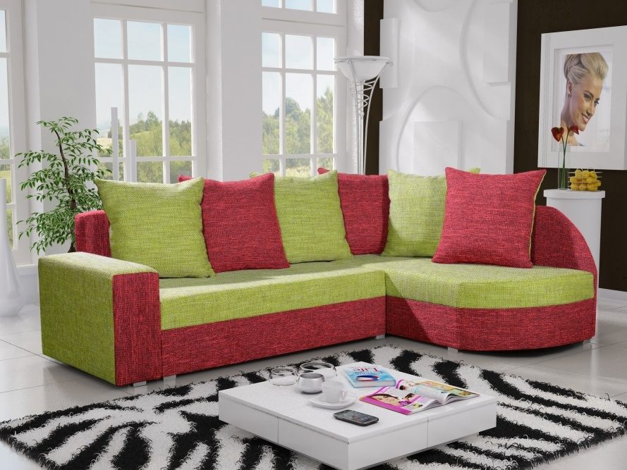 Smartshop Rohová sedačka LIZBONA 5 pravá, zelená/červená