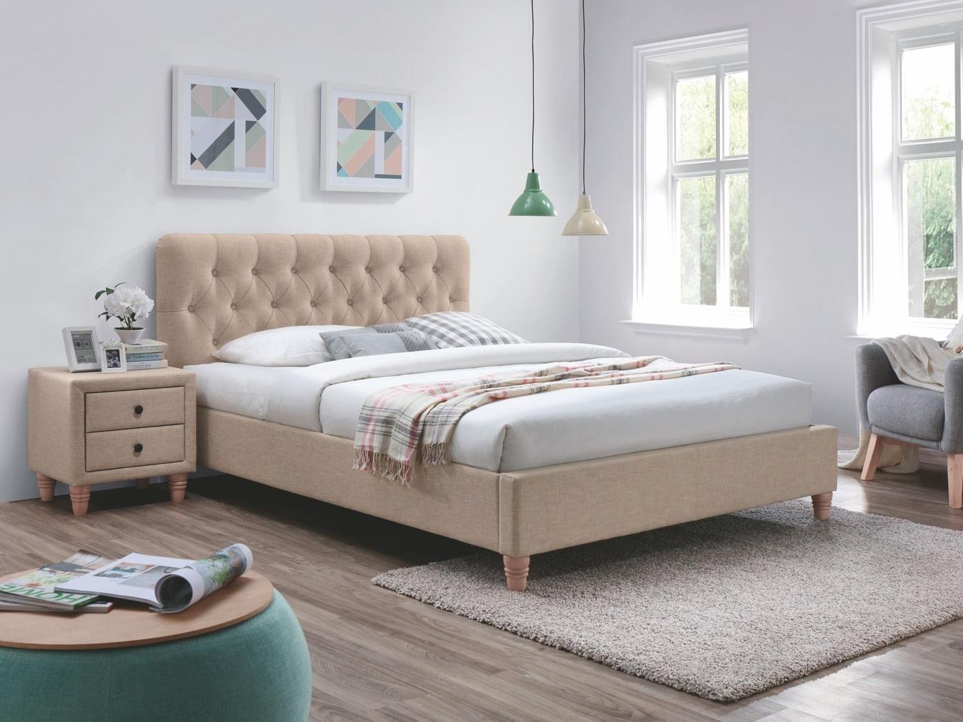 Smartshop MARITA postel 180x200 cm s roštem, béžová