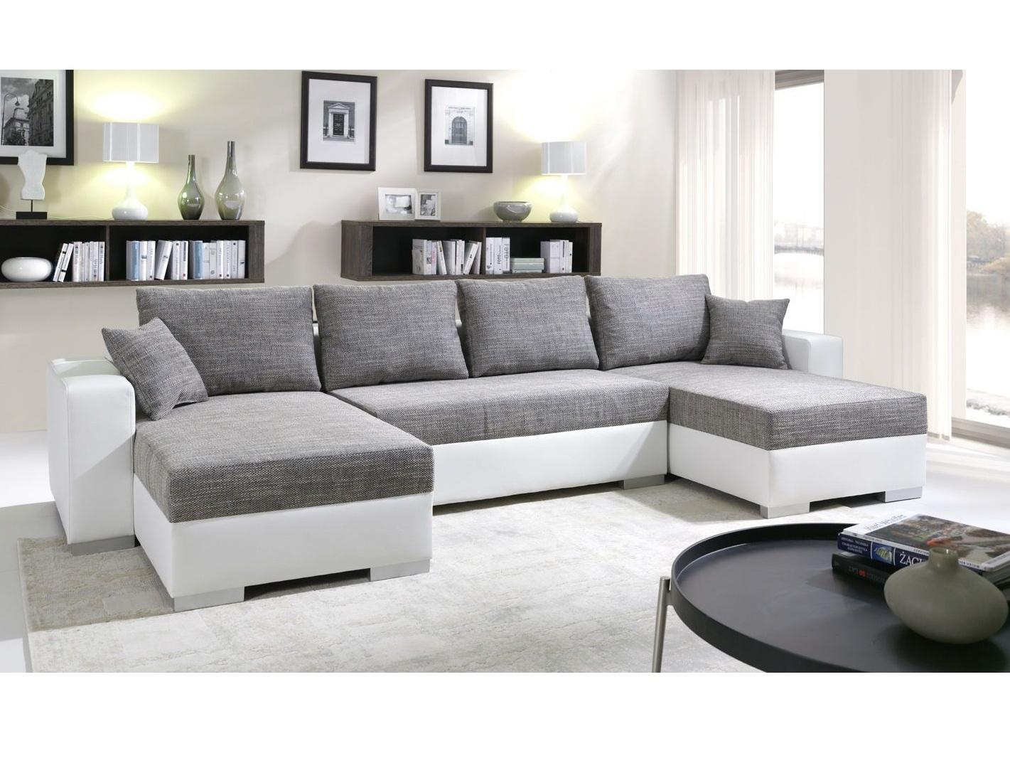 SmartShop Rohová sedačka KENZO 1, šedá/bílá ekokůže